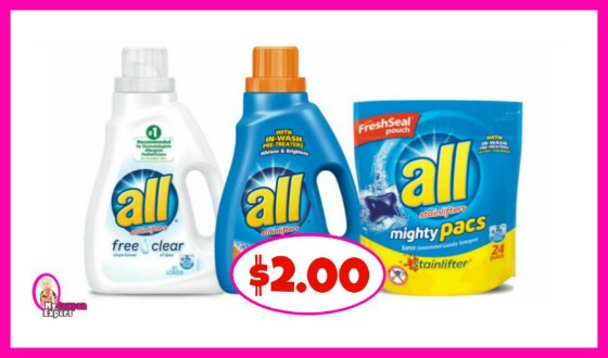 All Detergent Liquid or Pacs $2.00 each at Publix!