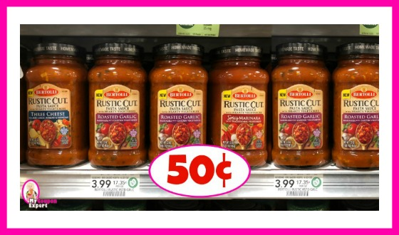 Bertolli Rustic Cut Pasta Sauce 50¢ each at Publix!