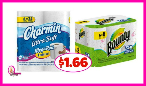 Charmin and Bounty Paper Towels $1.66 each at Winn Dixie!