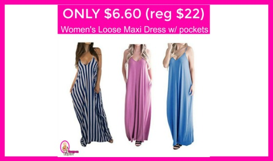Only $6.60 (reg $22) Women's Loose Maxi Dress w/pockets!