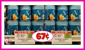 Pillsbury Grands!  Biscuits or Cinnamon Rolls 67¢ at Publix!