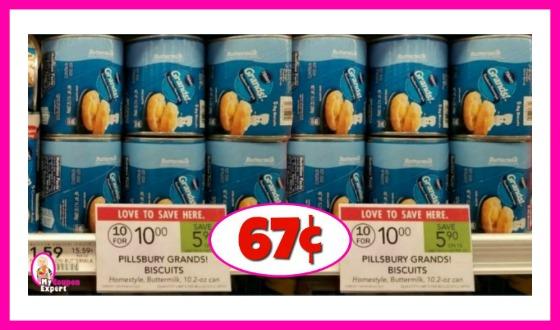 Pillsbury Grands!  Biscuits or Cinnamon Rolls 67¢ at Publix!