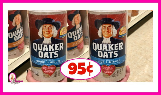 Quaker Quick Oats or Old Fashioned 95¢ at Publix!