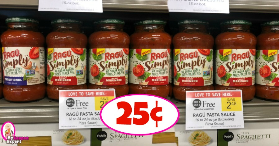 photograph relating to Ragu Printable Coupons known as Ragu Merely Sauce simply 25¢ every at Publix! ·
