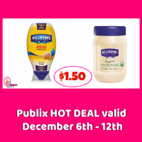Hellmanns Organic or Squeeze Mayonnaise $1.50 at Publix!