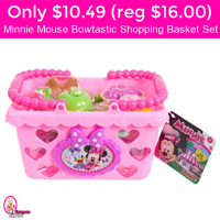 Only $10.49 (reg $16) Minnie Mouse Bowtastic Shopping Basket Set!