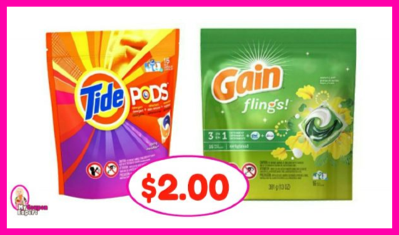 Tide Pods or Gain Flings Deal at Publix!