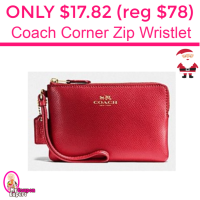 Only $17.82 (reg $78) Coach Corner Zip Wristlet and more!