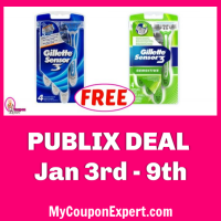 Gillette Razors FREE at Publix starting Jan 3rd!