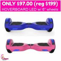 Only $97.00 (reg $199) Hoverboard LED with 6″ wheels!!