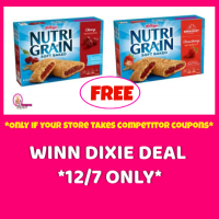 Winn Dixie ONE DAY ONLY!  FREE Kellogg's Nutri-Grain Bars for some!