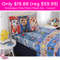 Only $19.88 (reg $59.99) Nickelodeon Paw Patrols Sheet Set!!