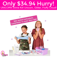 Unicorn Slime Making Kit, Unicorn, Glitter, Fluffy Cloud Only $34.94!