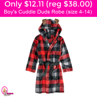 Only $12.11 (reg $38) Boy's Cuddle Duds Robe! Cute!