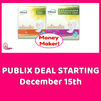Tena Pads MONEY MAKER at Publix December 15th & 16th ONLY!