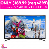 Only $189.99 (reg $399.99) Komodo 55″ 4K Ultra HD TV!  WOW!