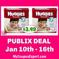 Publix Deal:  Huggies Diapers only $2.49! *NEW Publix Q & Printable MQ*