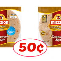 Mission Whole Wheat Tortillas just 50¢ each at Publix!