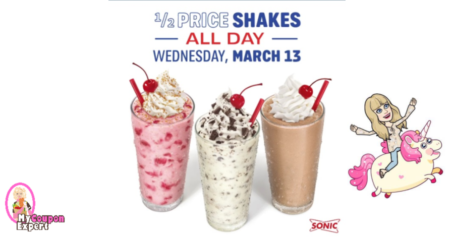 graphic relating to Sonic Printable Coupon named 50 % Value Shakes at Sonic upon March 13th! Woohoo!! ·