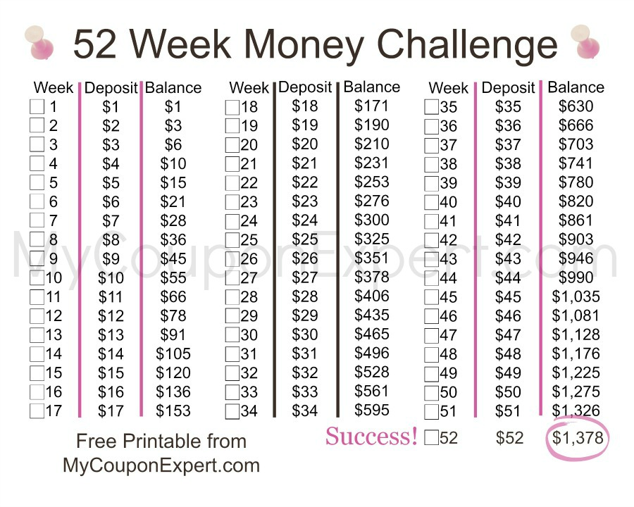 Take the 52 week Money Challenge!!  It's easier than you think!!