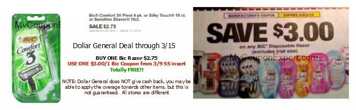 FREE Bic Razors at Dollar General through 3/15!!