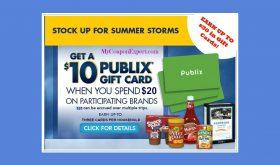 Publix Summer Storm Savings Promo!  Get a $10 Gift Card!!