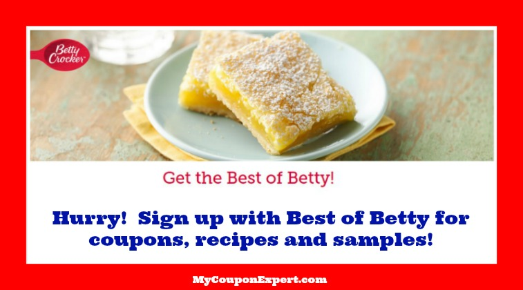 Check this out!  Sign up for Betty Crocker Coupons, Samples & Recipes!