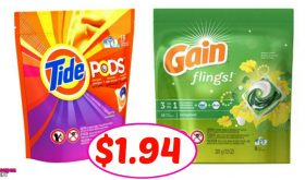 Tide Pods & Gain Flings just $1.94 per pack at CVS!!