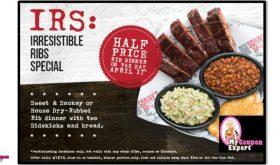 Half Price Rib Dinner at Sonny's on April 17th!!