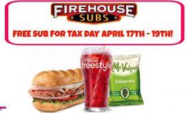 FREE FIREHOUSE SUB April 17th thru 19th!