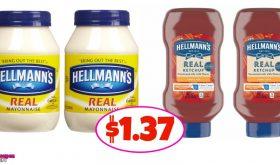 Hellmann's Mayo and Ketchup $1.37 each at Winn Dixie!
