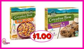Cascadian Farms Cereal or Bars $1.00 at Publix!