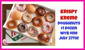 Krispy Kreme Doughnuts $1 Dozen July 27th wyb One!