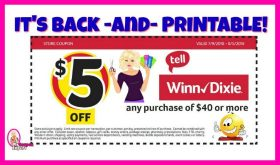 Winn Dixie $5/$40 Coupons are BACK and PRINTABLE!