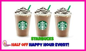 HALF OFF Starbucks Grande Frapp Beverages!  July 19th Only!