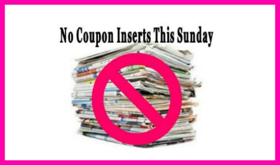 NO COUPON INSERTS this Sunday, April 21st