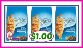 9Lives Dry Cat Food, 3.1 lb bag $1.00 at Publix!