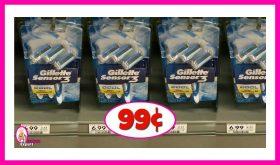 Gillette Disposable Razors 99¢ per pack at Publix!