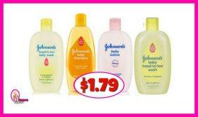 Johnsons Baby Wash & Shampoo $1.79 at Publix!