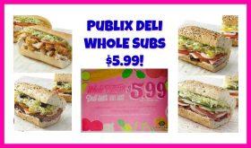Publix Deli Whole Subs just $5.99 each thru 9/26!!