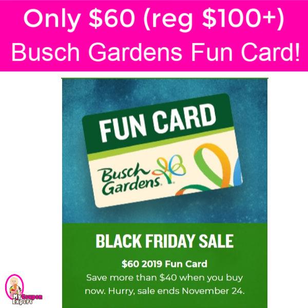 Wow busch gardens 2019 fun card 60 reg 100 hurry - Busch gardens discount tickets publix ...
