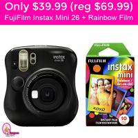 Only $39.99 (reg $69.99) Instax Mini 26 and Rainbow Film Bundle!