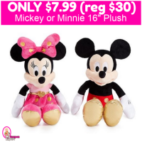 Mickey or Minnie 16″ Plush Only $7.99 (reg $30) TODAY ONLY!