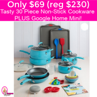 Only $69.00 Tasty 30 piece Cookware PLUS Google Home Mini!