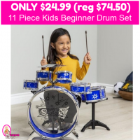 Kids Beginner Drum Set 11 Piece Only $24.99 (reg $74.99)!!