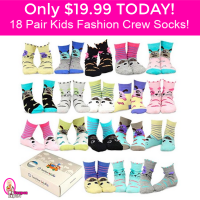 WOW TeeHee Fashion Cotton Crew Socks 18 pack Gift Pack only $19.99 TODAY ONLY!