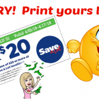 Save A Lot $5/$20 printable coupon!  Great to use as a competitor Q too!!